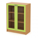 skříň střední 80 cm - 2-dveřová prosklená v rámu s nikou