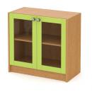 skříň nízká 80 cm - 2-dveřová prosklená v rámu