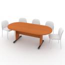 Stůl jednací oválný 210 cm podnož LUX
